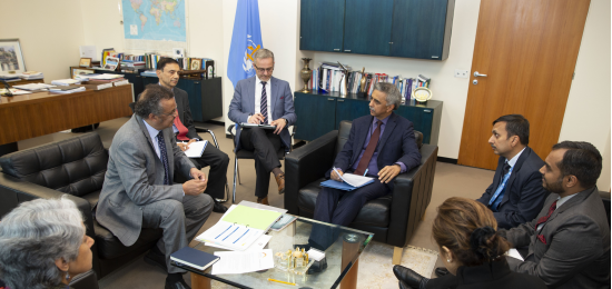 PR/Ambassador Mr. Rajiv K. Chander meeting with DG, WHO and the senior management to discuss various international health related issues (Geneva, 7 November 2019)