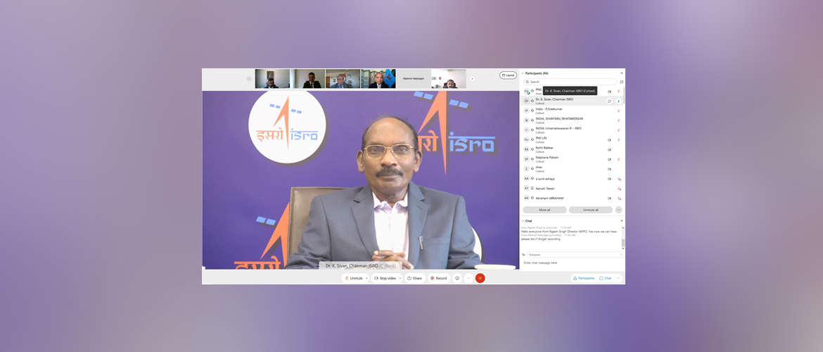 Dr. K. Sivan delivering the Key Note Address during the virtual event on India's Space Program for India@75, 22 April 2021