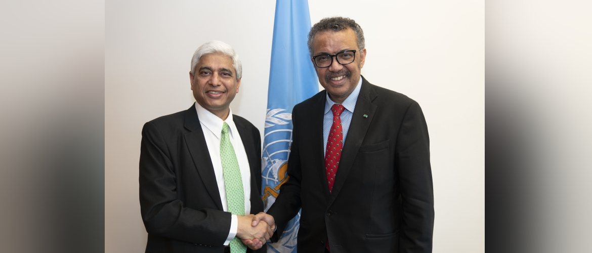 Secretary (West) Mr. Vikas Swarup meets with DG, WHO to discuss Global COVID-19 epidemic and key India-WHO issues (Geneva, 26 February 2020)