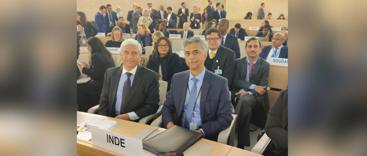 Secretary West Shri Vikas Swarup leading the Indian delegation to the 43rd session of the UN Human Rights Council in Geneva, together with Ambassador/PR Rajiv K. Chander, 24th February 2020.