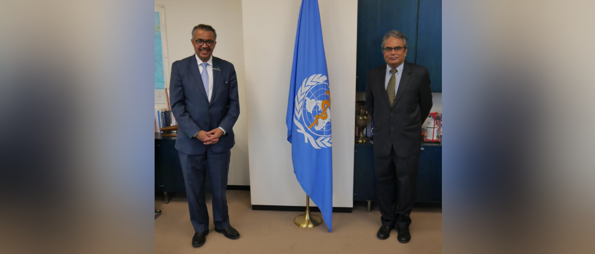 Ambassador Indra Mani Pandey called on Dr Tedros Adhanom Ghebreyesus, Director General of the World Health Organization in Geneva. [28th October 2020]