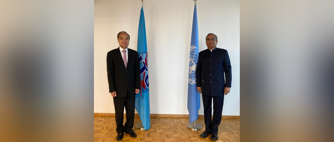 Ambassador Indramani Pandey called on Mr. Houlin Zhao, Secretary General, International Telecommunication Union(ITU). [29th September 2020,Geneva]